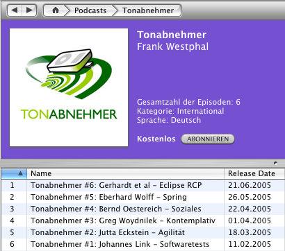 Tonabnehmer Podcast in iTunes 4.9